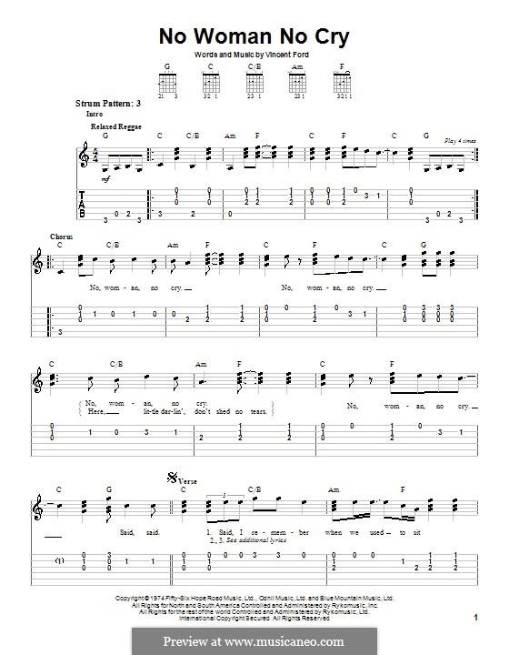 No Woman No Cry (Bob Marley): Для гитары (очень легкая версия) by Vincent Ford