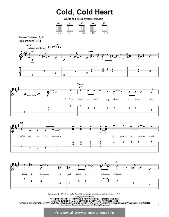 Cold, Cold Heart: Для гитары (очень легкая версия) by Hank Williams