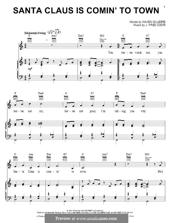 Santa Claus is Comin' to Town: For voice and piano (or guitar) C Major by J. Fred Coots