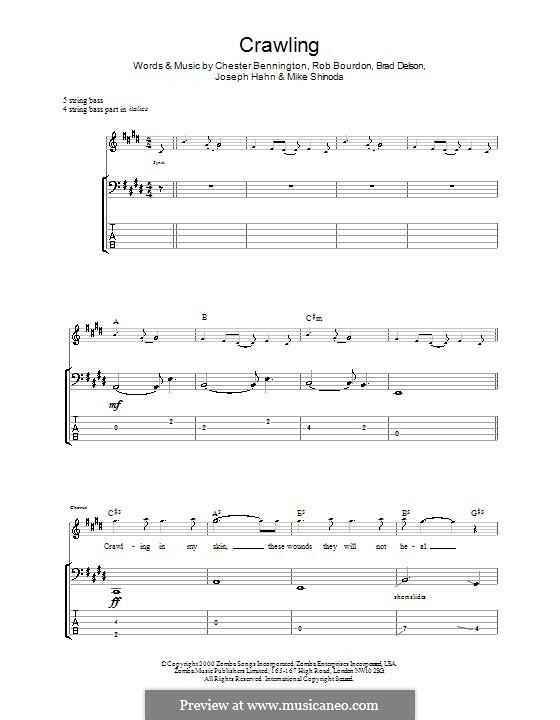 Crawling (Linkin Park): Для бас-гитары с табулатурой by Brad Delson, Charles Bennington, Joseph Hahn, Mike Shinoda, Rob Bourdon