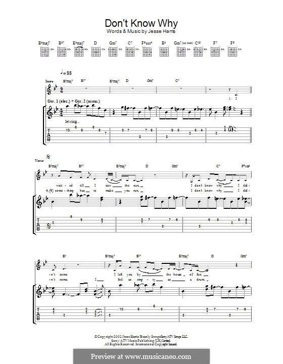 Don't Know Why (Norah Jones): Для гитары by Jesse Harris