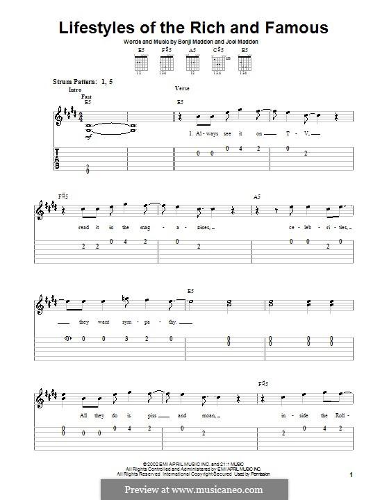Lifestyles of the Rich and Famous (Good Charlotte): Для гитары (очень легкая версия) by Benji Madden, Joel Madden