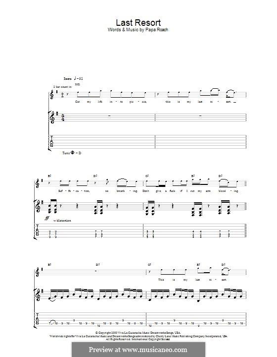 Last Resort: Гитарная табулатура by Papa Roach, David Buckner, Jacoby Shaddix, Jerry Horton, Tobin Esperance