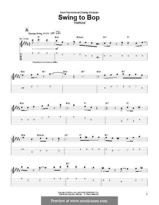 Swing To Bop: Гитарная табулатура by Charlie Christian