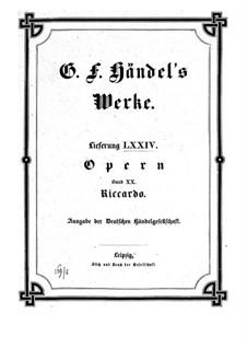 Ричард Первый, король Англии, HWV 23: Партитура by Георг Фридрих Гендель