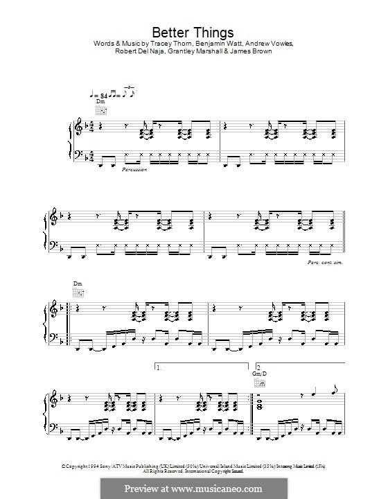 Better Things (Massive Attack): Для голоса и фортепиано (или гитары) by Tracey Thorn, Benjamin Watt, Andrew Vowles