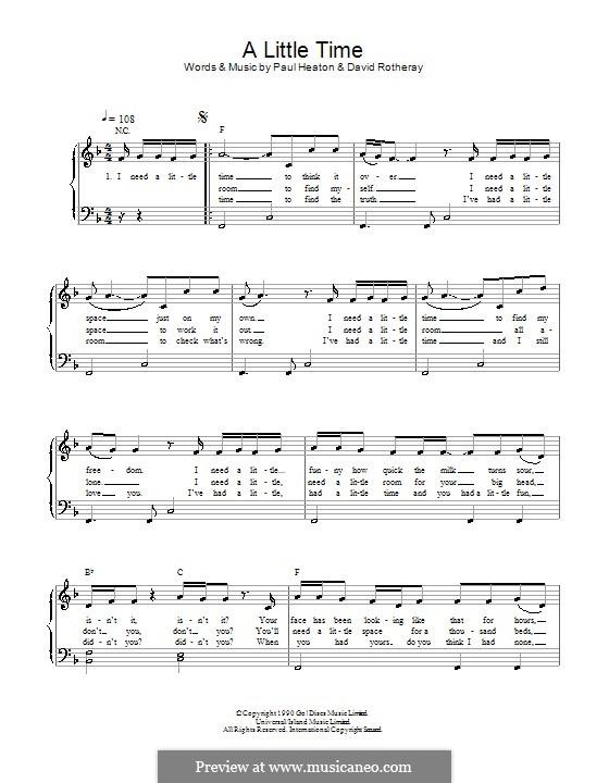 A Little Time (The Beautiful South): Для фортепиано (легкий уровень) by David Rotheray, Paul Heaton