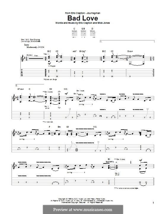 Bad Love: Гитарная табулатура by Mick Jones