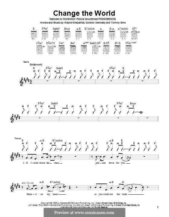 Change the World (Eric Clapton and Wynonna): Для гитары (с вариантом боя) by Gordon Kennedy, Tommy Sims, Wayne Kirkpatrick
