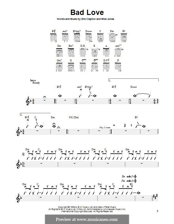 Bad Love: Для гитары (с вариантом боя) by Mick Jones