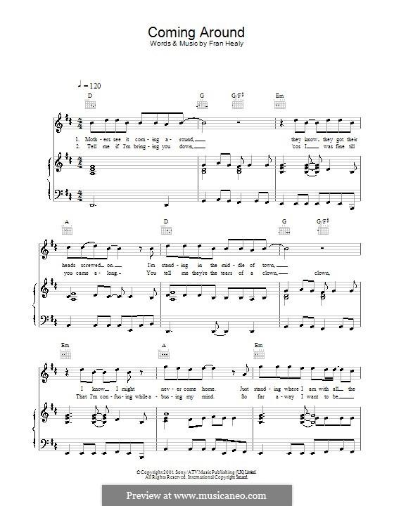 Coming Around (Travis): Для голоса и фортепиано (или гитары) by Fran Healy