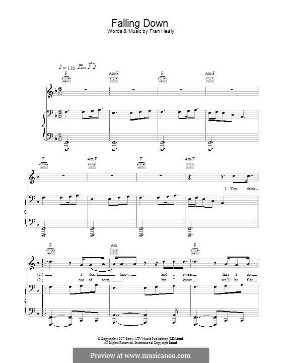 Falling Down (Travis): Для голоса и фортепиано (или гитары) by Fran Healy