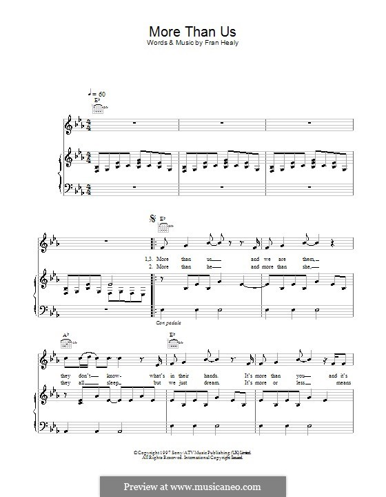 More Than Us (Travis): Для голоса и фортепиано (или гитары) by Fran Healy
