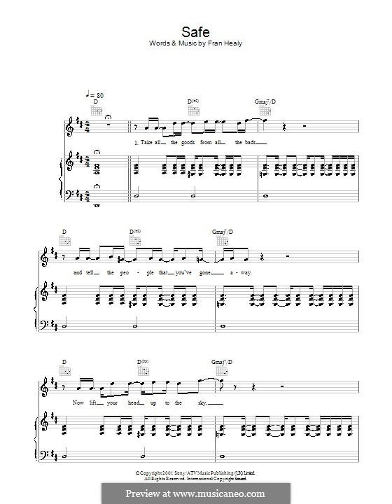 Safe (Travis): Для голоса и фортепиано (или гитары) by Fran Healy