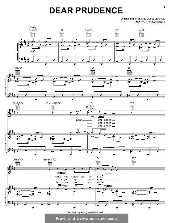 Dear Prudence (The Beatles): Для голоса и фортепиано или гитары by John Lennon, Paul McCartney