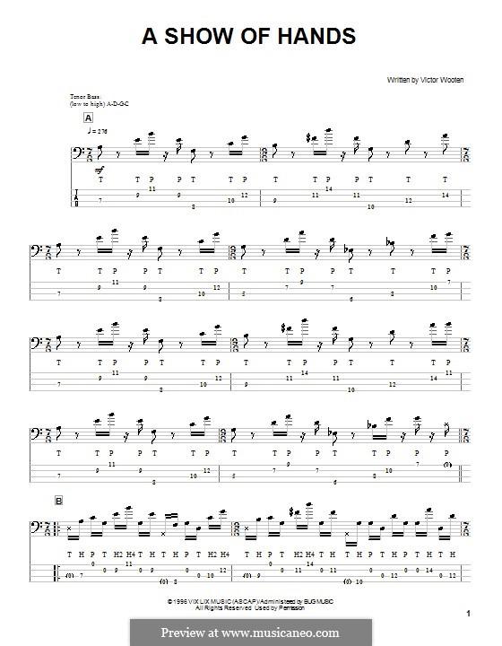 A Show of Hands: Для бас-гитары с табулатурой by Victor Wooten