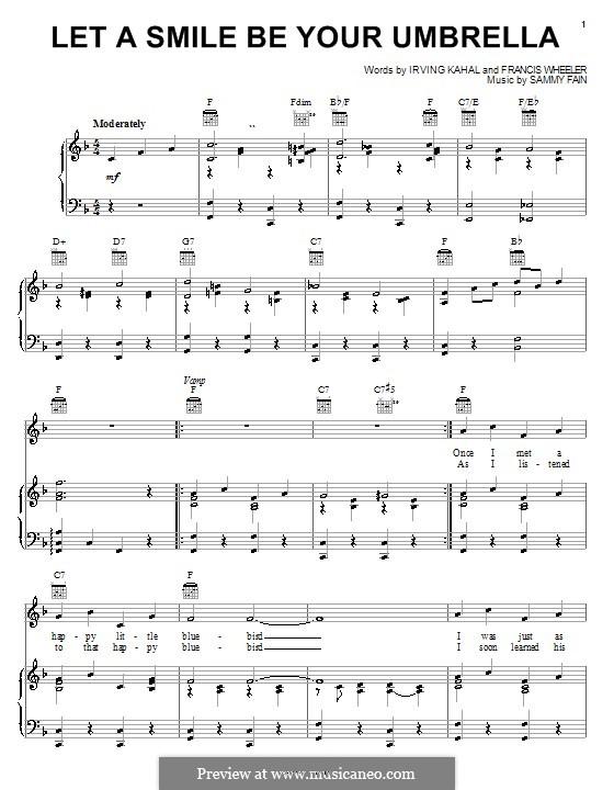 Let a Smile Be Your Umbrella: Для голоса и фортепиано (или гитары) by Francis Wheeler, Sammy Fain