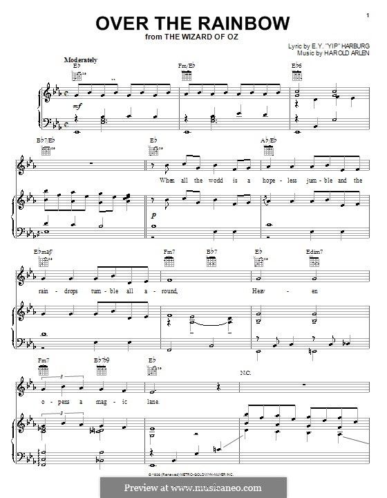 Over the Rainbow (from The Wizard of Oz): Для голоса и фортепиано или гитары (Judy Garland) by Harold Arlen