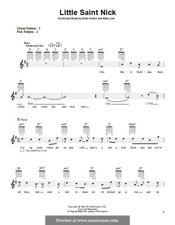 Little Saint Nick (The Beach Boys): Для гитары (очень легкая версия) by Brian Wilson, Mike Love