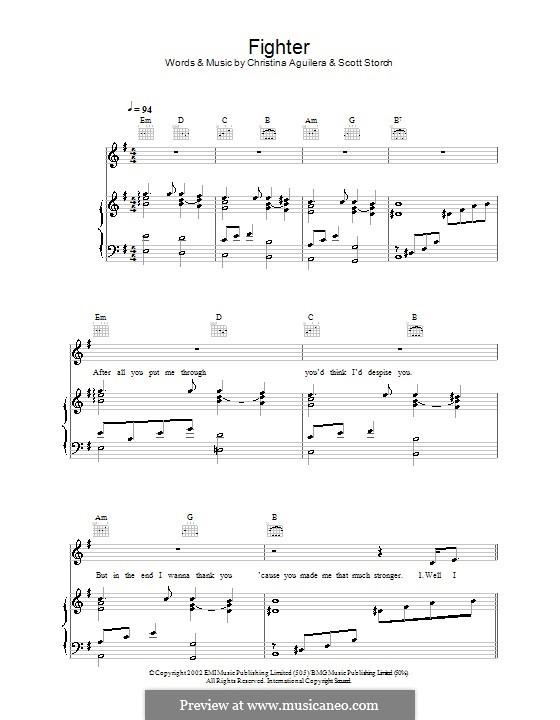 Fighter: Для голоса и фортепиано (или гитары) by Christina Aguilera, Scott Storch