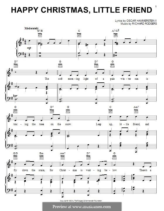 Happy Christmas, Little Friend: Для голоса и фортепиано (или гитары) by Richard Rodgers