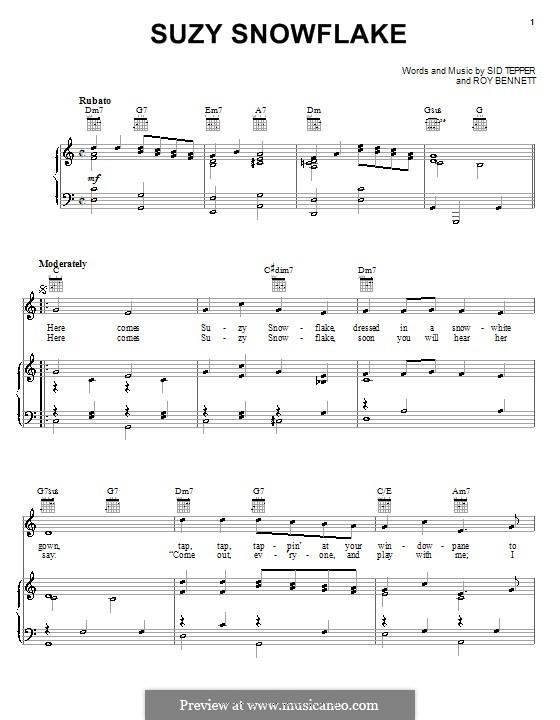Suzy Snowflake (Rosemary Clooney): Для голоса и фортепиано (или гитары) by Roy C. Bennett, Sid Tepper