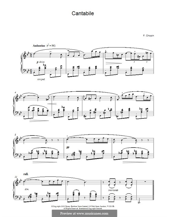 Кантабиле си-бемоль мажор, B.84 KK IVb/6: Для фортепиано by Фредерик Шопен
