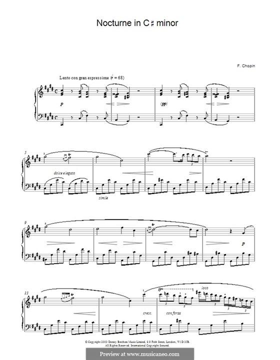 Ноктюрн до-диез минор, B.49 KK IVa/16: Для фортепиано (ноты высокого качества) by Фредерик Шопен