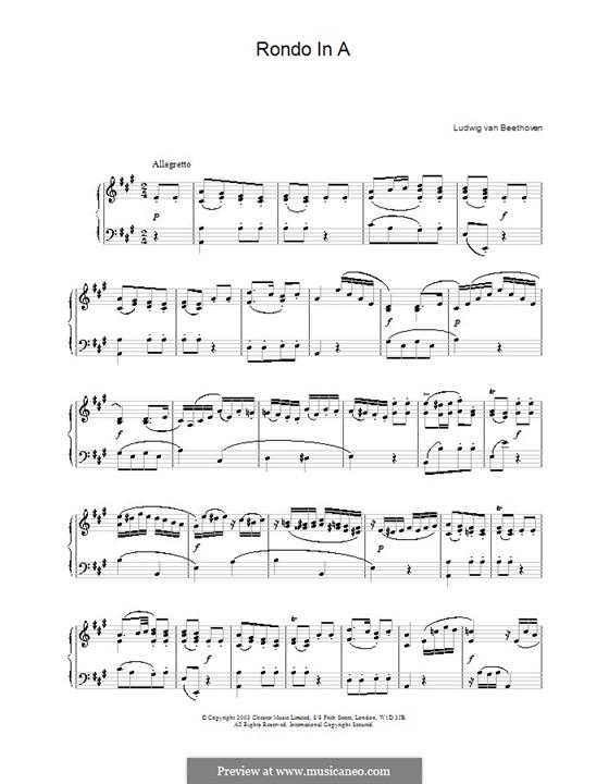 Рондо ля мажор, WoO 49: Для фортепиано by Людвиг ван Бетховен