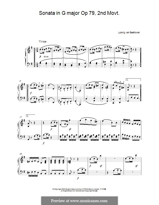 Соната для фортепиано No.25, Op.79: Часть II by Людвиг ван Бетховен