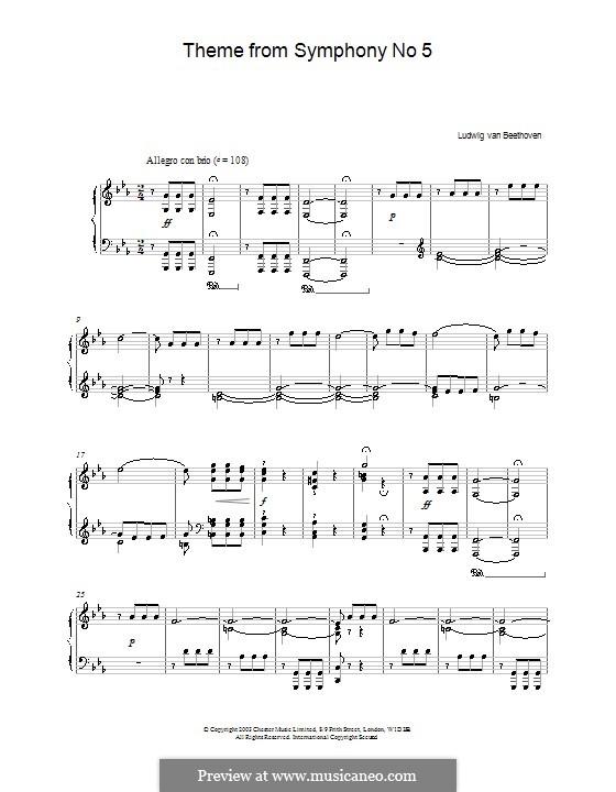 Часть I: Тема. Версия для фортепиано by Людвиг ван Бетховен