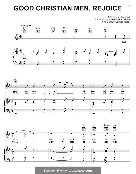 Good Christian Men, Rejoice: Для голоса и фортепиано (или гитары) by folklore