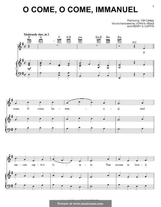 O Come, O Come, Emmanuel: Для голоса и фортепиано (или гитары) by folklore