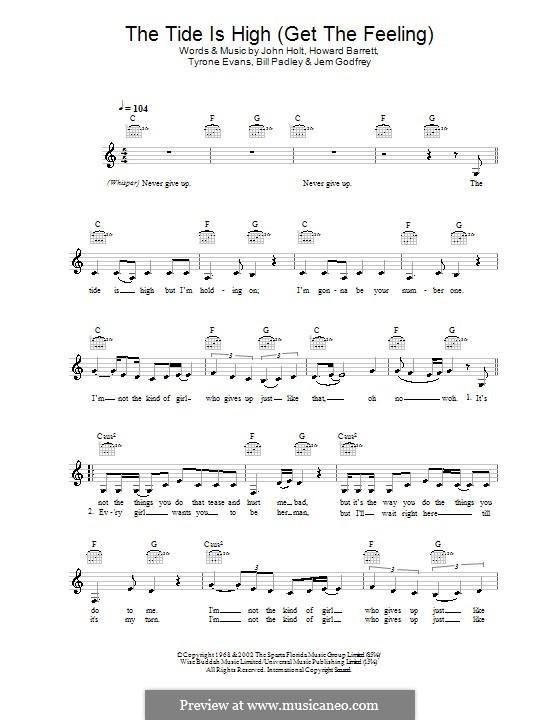 The Tide is High (Get the Feeling): Мелодия, текст и аккорды (Atomic Kitten) by Bill Padley, Howard Barrett, Jeremy Godfrey, John Holt, Tyrone Evans