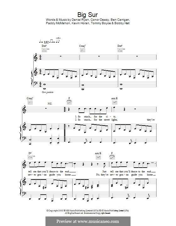 Big Sur (The Thrills): Для голоса и фортепиано (или гитары) by Ben Carrigan, Conor Deasy, Daniel Ryan, Kevin Horan, Pádraic McMahon