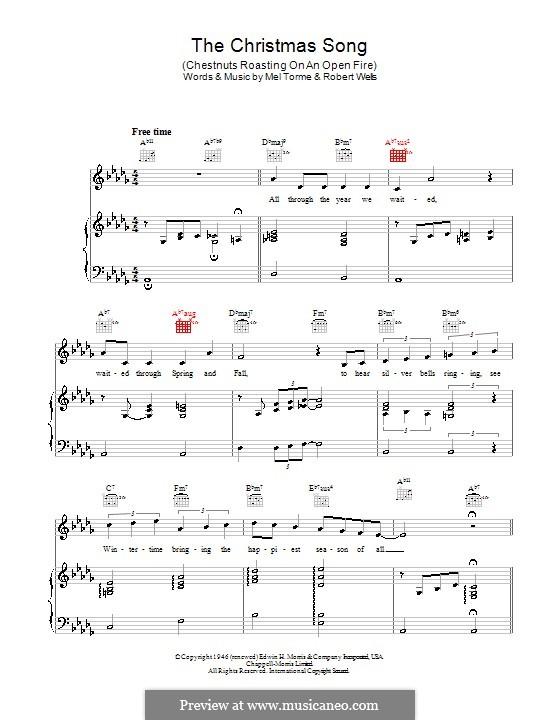 The Christmas Song (Chestnuts Roasting on an Open Fire): Для голоса и фортепиано или гитары by Mel Tormé, Robert Wells