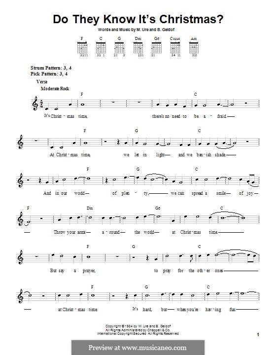 Do They Know It's Christmas? (Feed the World): Для гитары (очень легкая версия) by Bob Geldof, Midge Ure