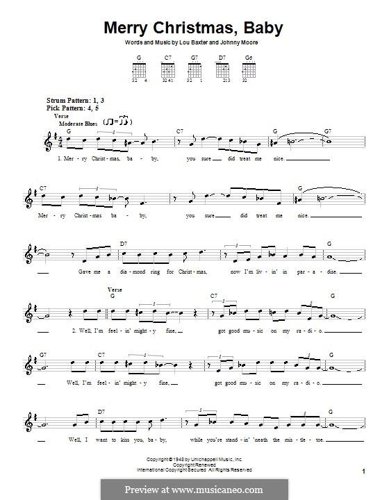 Merry Christmas, Baby: Для гитары (очень легкая версия) by Johnny Moore, Lou Baxter