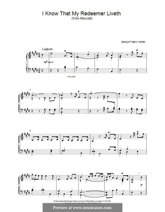 No.45 I Know That My Redeemer Liveth: Для фортепиано (ноты высокого качества) by Георг Фридрих Гендель