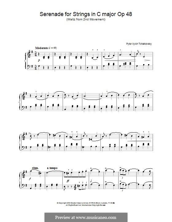 Серенада для струнного оркестра, TH 48 Op.48: Часть II (Вальс), для фортепиано (с аппликатурой) by Петр Чайковский