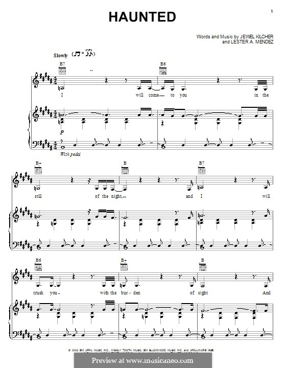 Haunted (Jewel): Для голоса и фортепиано (или гитары) by Jewel Kilcher, Lester A. Mendez