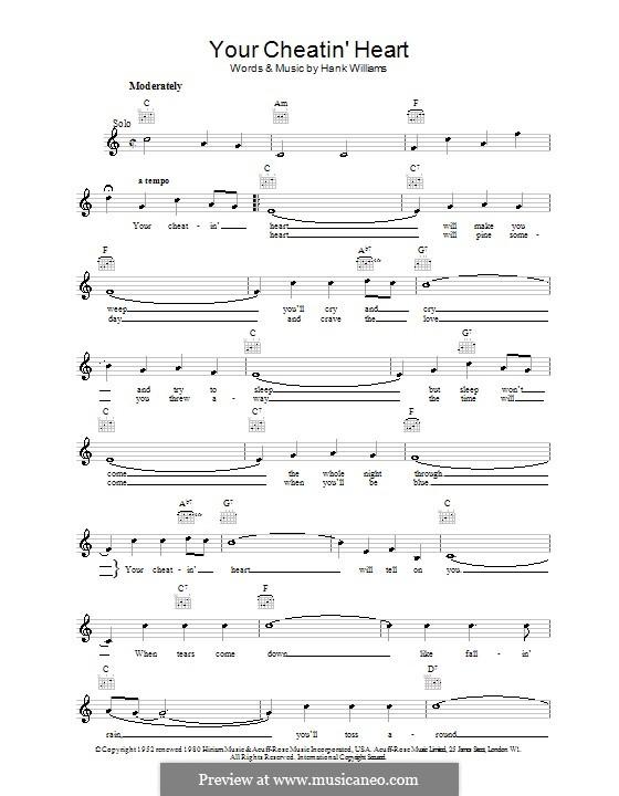 Your Cheatin' Heart: Мелодия, текст и аккорды by Hank Williams