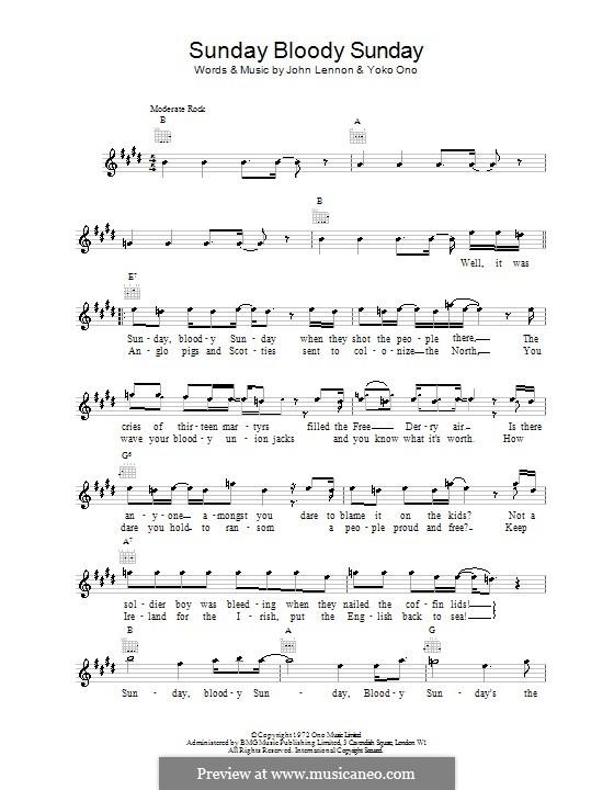 Sunday Bloody Sunday: Мелодия, текст и аккорды by John Lennon
