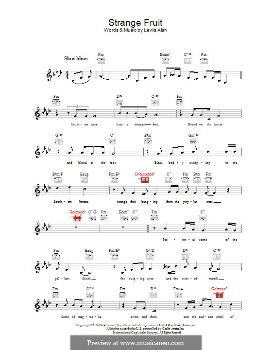 Strange Fruit: Melody line, lyrics and chords (Billie Holiday) by Lewis Allan