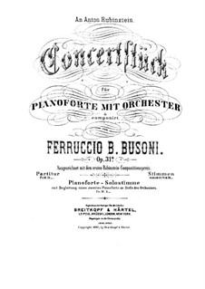 Концертштюк для фортепиано с оркестром, BV 236 Op.31a: Партитура by Ферруччо Бузони