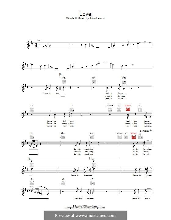 Love: Мелодия, текст и аккорды by John Lennon