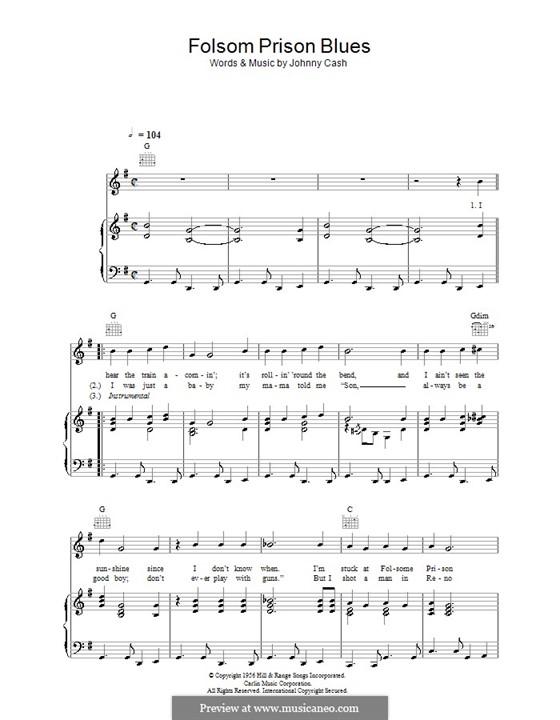 Folsom Prison Blues: Для голоса и фортепиано (или гитары) by Johnny Cash