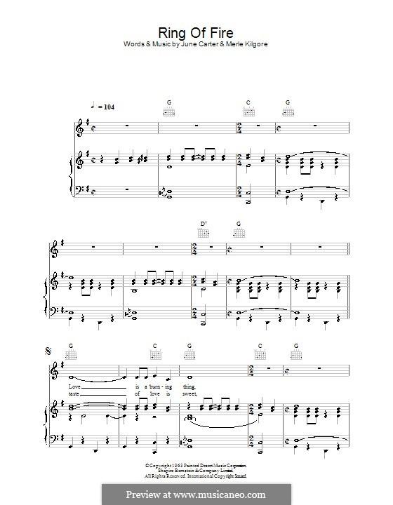 Ring of Fire: Для голоса и фортепиано (или гитары) by June Carter, Merle Kilgore