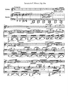 Соната для скрипки и фортепиано No.2 ми минор, Op.36a: Партитура, сольная партия by Ферруччо Бузони