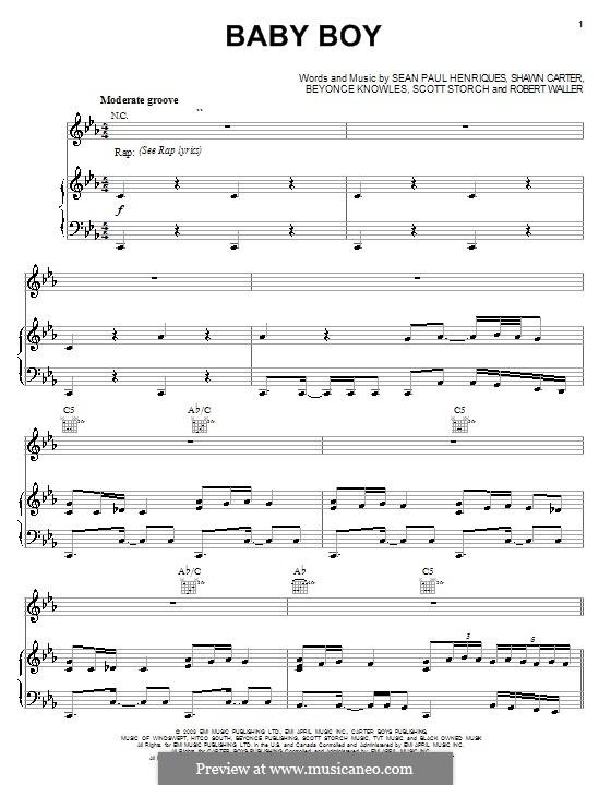 Baby Boy (Beyonce feat. Sean Paul): Для голоса и фортепиано (или гитары) by Beyoncé, Robert Waller, Scott Storch, Sean Paul Henriques, Jay-Z, Ini Kamoze